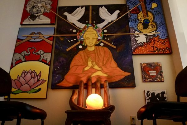 Art wall with Buddha Rehab