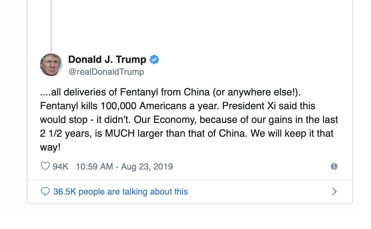 Trump and China's Twitter War over Fentanyl